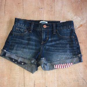 Old navy size girls 7 denim short with flag pocket
